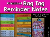 Preschool Bag Tag Reminder Notes  with EDITABLE file