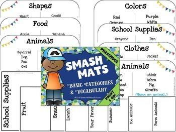 Preschool Basic Categories & Vocab Smash Mats + Sorts, Coloring NO PREP