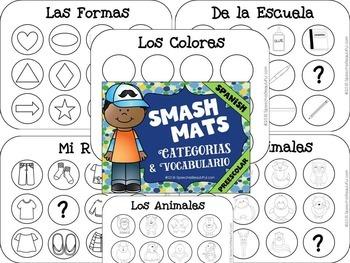 Preschool Basic Categories Smash Mats {SPANISH} - Sorting & Coloring - NO PREP