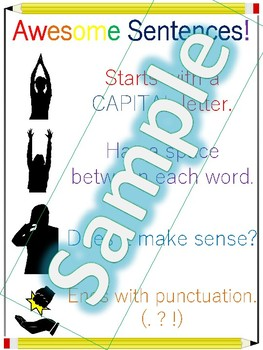 Preschool Basic Sentence Writing Anchor Chart