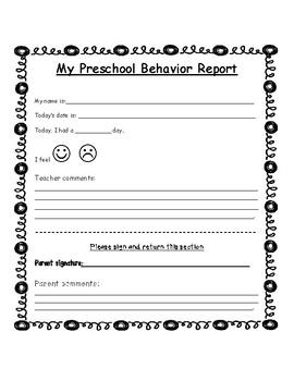 Preschool Behavior Report Worksheets & Teaching Resources | TpT
