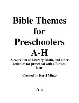 Preschool Bible Themed Activities A-H