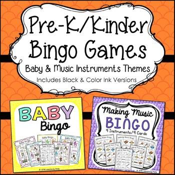 Preschool Bingo Games - Baby and Making Music Bundle