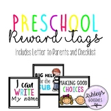 Preschool Reward Tags and Goals (Includes Parent Letter and Checklist)
