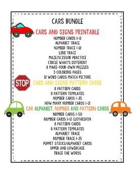 Preschool Bundle Cars & Signs plus Alphabet Cards