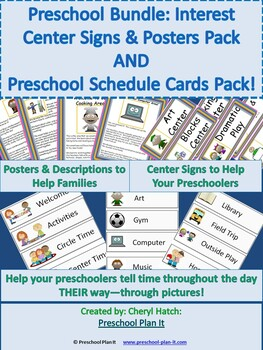 Preschool Bundle: Posters & Sign Labels Packet AND Preschool Schedule Cards