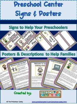 Preschool Bundle: Posters & Sign Labels Packet AND Preschool Schedule Cards
