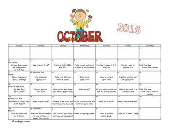 Preschool Calendar Activities for  2016-2017