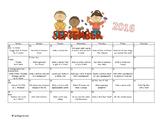 Preschool Calendar Activities for September 2016