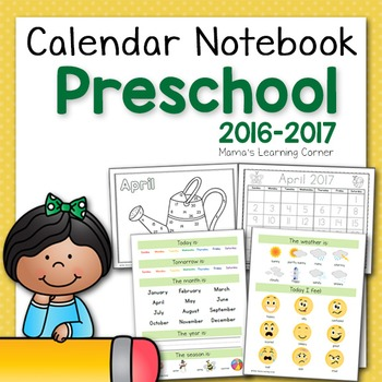 Preschool Calendar Notebook for 2016-2017