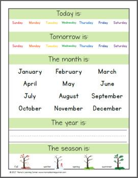 Preschool Calendar Notebook for 2017-2018