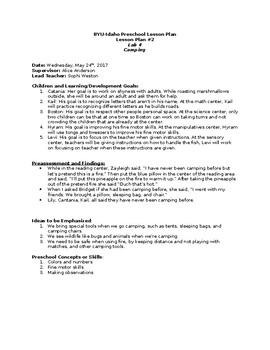 Preschool Camping Lesson Plan