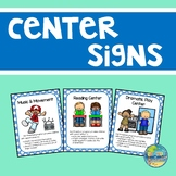 Preschool Center Signs--Blue with White Polka Dots