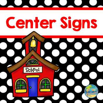 Preschool Center Signs Black with White Polka Dots