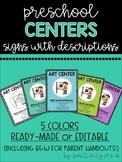 Preschool Center Signs with Descriptions (Editable)