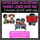 Preschool Center Signs with Editable Phonics-Linked Nametags