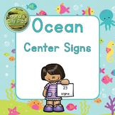 Centers Signs Ocean Life for Preschool, PreK, or Kindergarten