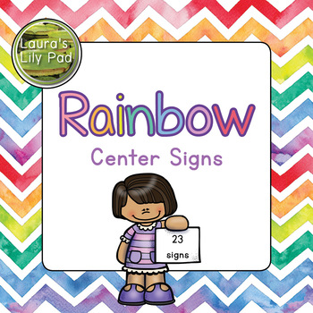 Preschool Centers Signs Rainbow Watercolor Chevron