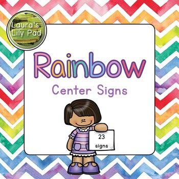 Centers Signs Rainbow Watercolor Chevron for Preschool, PreK, and Kindergarten