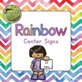 Centers Signs Rainbow Watercolor Chevron for Preschool, Pr