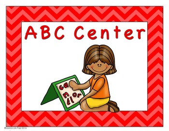 Preschool Centers Signs Red Chevron