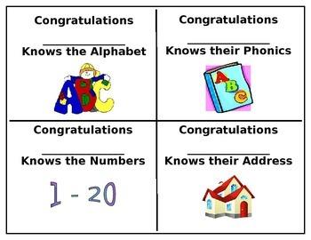 Preschool Certificates Set #1