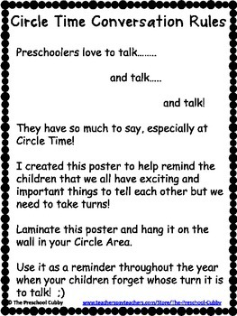 Preschool Circle Time Conversation Rules