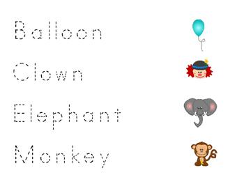 Preschool Circus Beginning Writing Practice English/Spanish Version