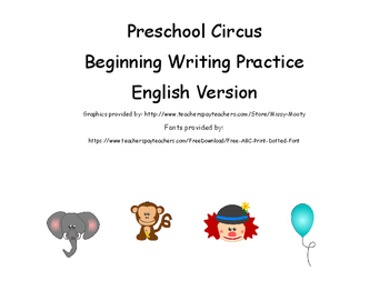 Preschool Circus Beginning Writing Practice English Version