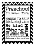 Preschool Classroom Rules Subway Wall Art