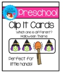 Preschool Clip It Cards - Which one is different? Halloween Theme