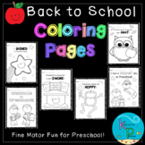 Preschool Coloring Page Pack (Back to School Theme)