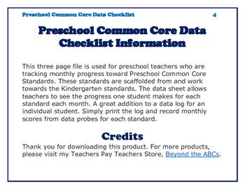 Preschool Common Core Data Checklist