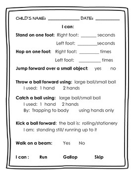 Preschool Concept Checks