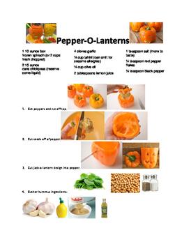 Preschool Cooking Lesson Pepper O-lantern Freebie