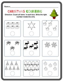 Preschool - Kindergarten Counting Worksheet (Christmas) | TpT