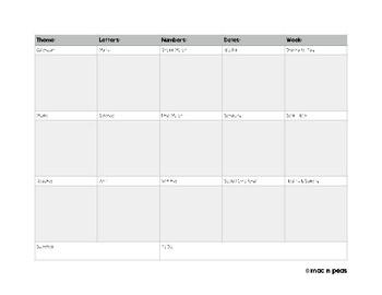 Preschool Curriculum Planner