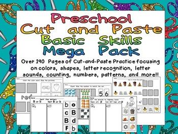 Preschool Cut and Paste Basic Skills Practice Mega Pack