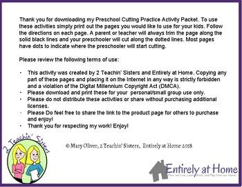 Preschool Cutting Practice Activity Packet