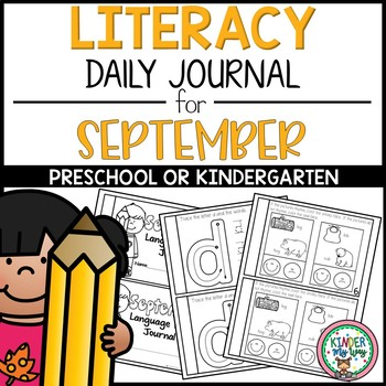 Preschool Language Arts Journal NO PREP - September