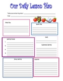 Preschool Daily Lesson Plan Template