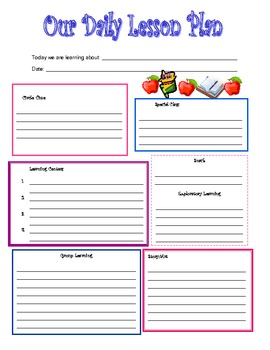 Preschool daily lesson plan template by kari lostocco tpt for Daily five lesson plan template