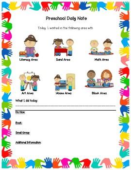 Preschool Daily Note