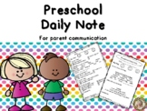 Preschool Daily Note Home