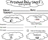 Preschool Daily Sheet