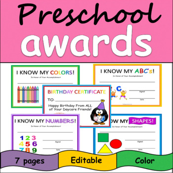 Preschool & Daycare Awards: Shapes, Numbers, ABC's, Colors, Birthday Certificate