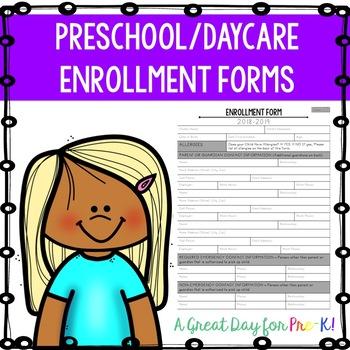 Preschool/Daycare/Private School Enrollment Forms Pack