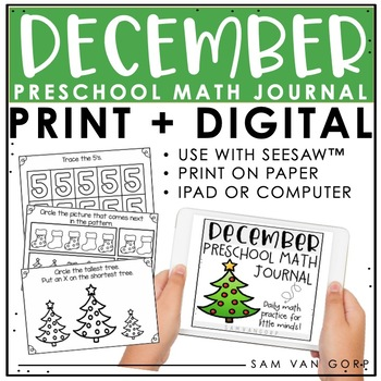 Preschool December Math Journal