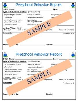 Preschool Detailed Behavior Reports