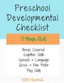 Preschool Developmental Checklist-3yrs